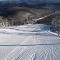 Freshly groomed ski run