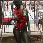 Statue with leaves