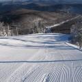 Freshly groomed ski run