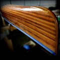 Newly re-varnished cedar strip canoe